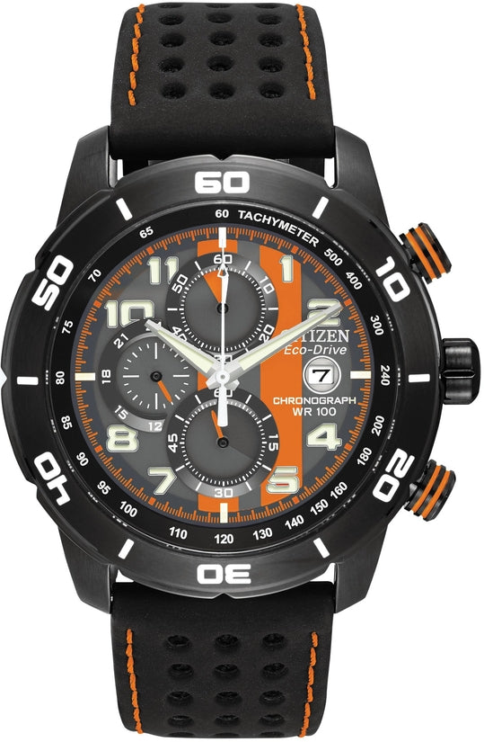 Primo Black Leather Orange & Gray Dial
