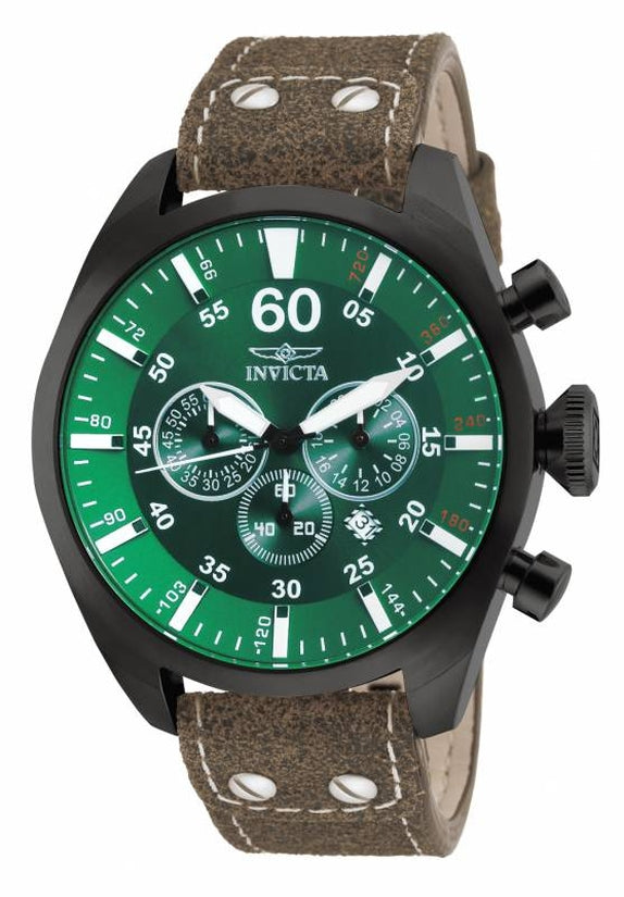 Aviator Men's Leather Green Dial