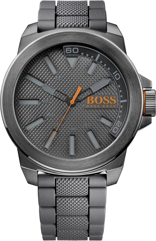 New York Men's Grey Silicone Gray Dial