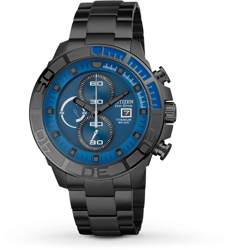 CA0525-50L Chronograph Blue Dial Titanium Strap Men's Watch