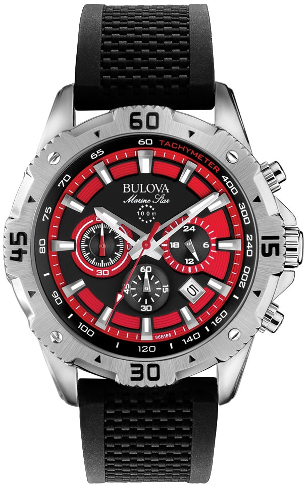 Marine Star Chronograph Red Dial Black Rubber Mens Watch 96B186