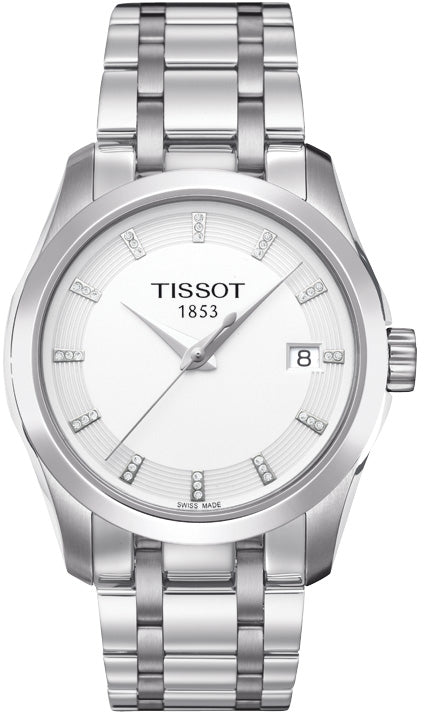 Tissot Couturier Lady Quartz Diamond White Dial Watch with Stainless Steel Bracelet