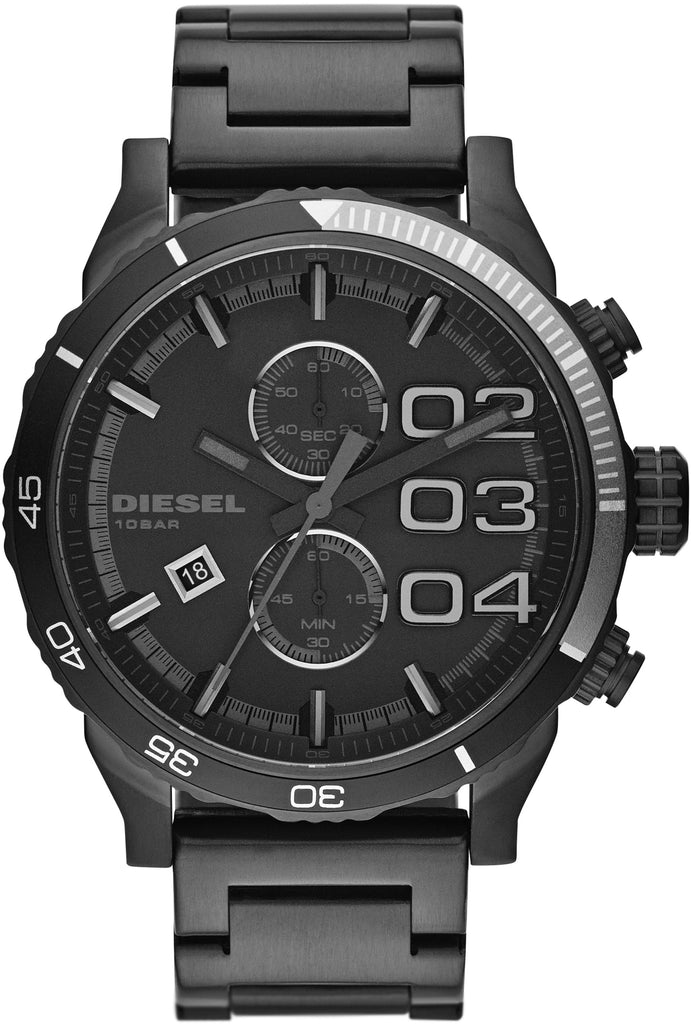 DZ4326 Double Down All Black Stainless Steel Strap Mens Watch