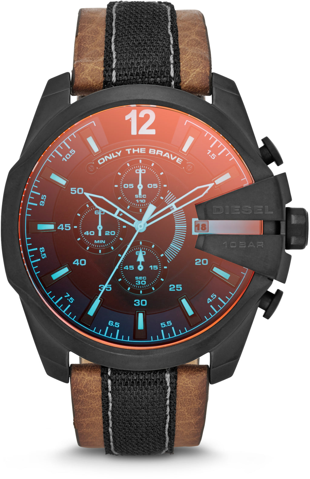 DZ4305 Mega Chief Multicolor Dial Brown Leather Strap Mens Watch