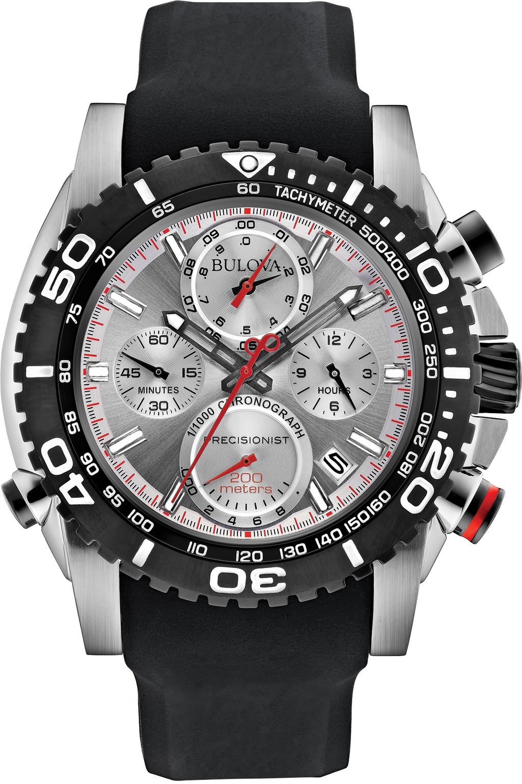 98B210 Precisionist Silver Dial Black Silicone Strap Mens Watch