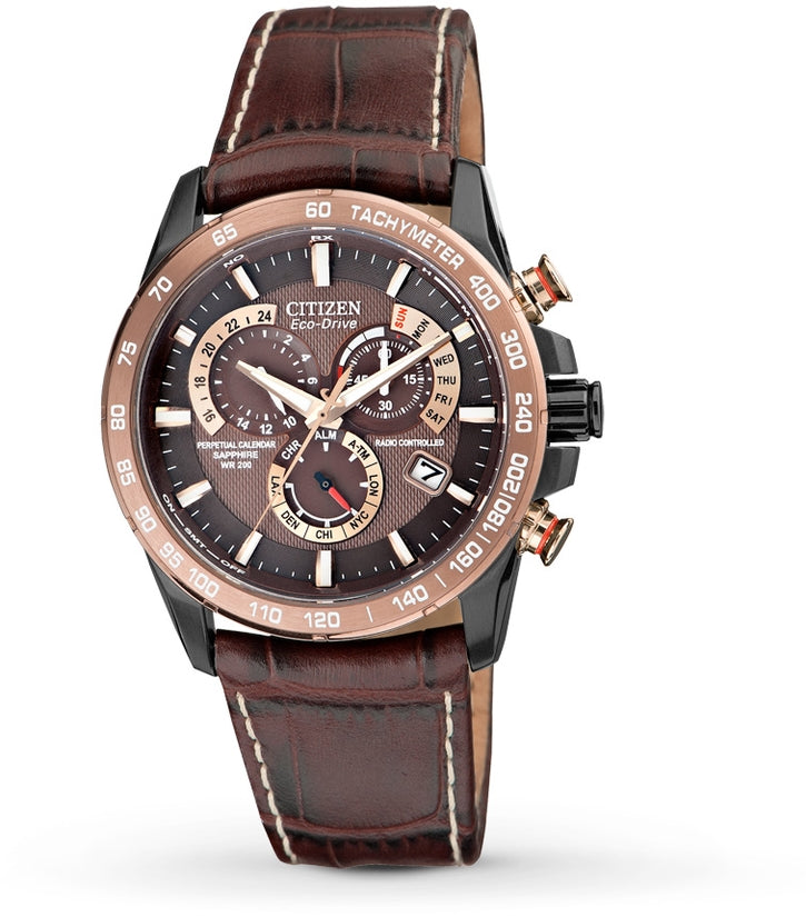 Perpetual Chronograph A-T Atomic Brown Leather Mens Watch AT4006-06X