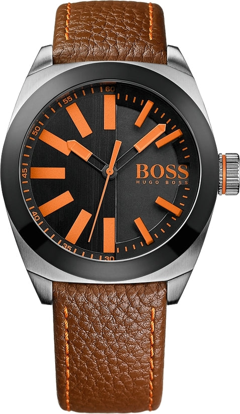 London Men's Brown Leather Black Dial