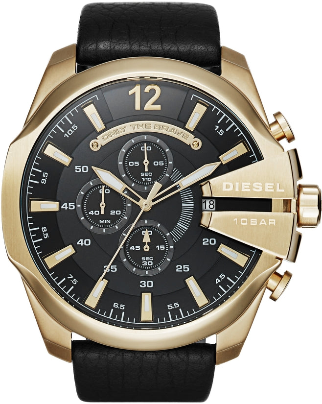 Mega Chief Chronograph Gold Tone Black Leather