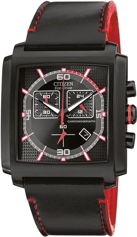 MFD 3.0 Chronograph Black And Red Leather Mens Watch AT2215-07E