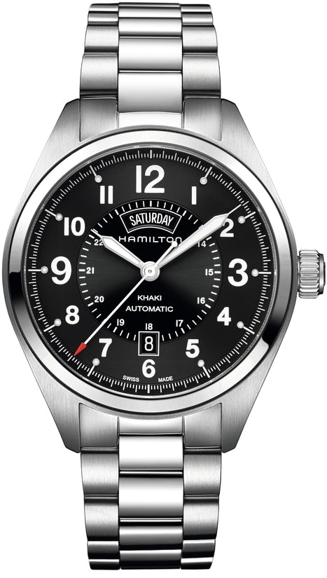Khaki Men's Stainless Steel Bracelet Black Dial