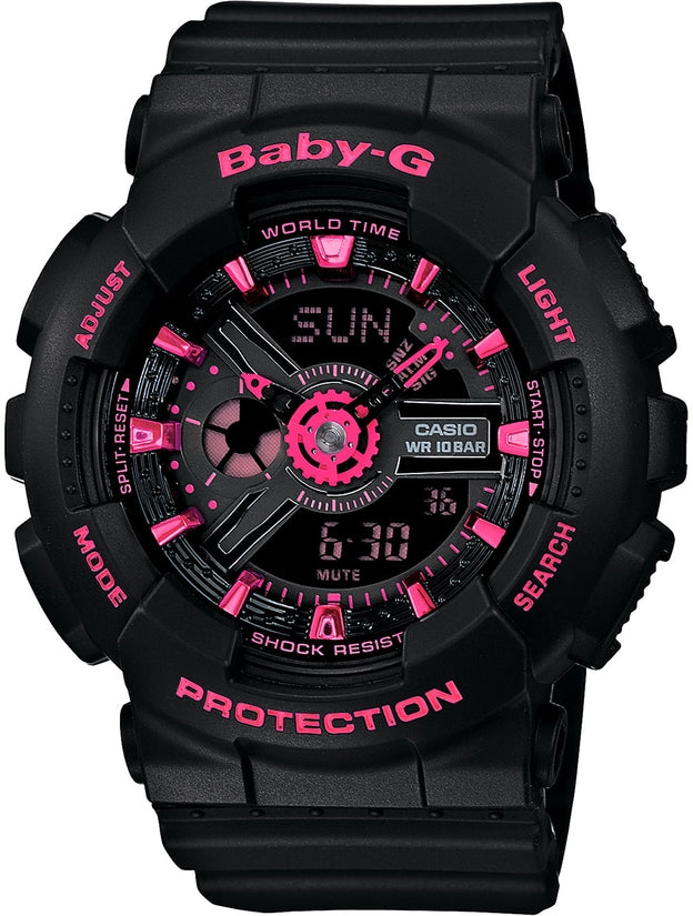 Baby-G BA111-1A Pink Black Resin Analog Digital Womens Watch