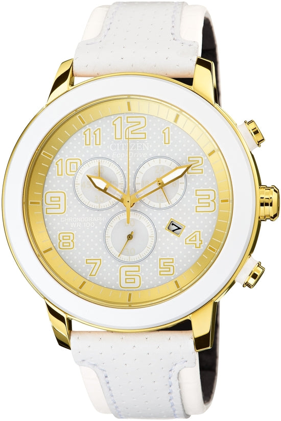 AT2232-08A Chronograph White Dial Leather Strap Women's Watch