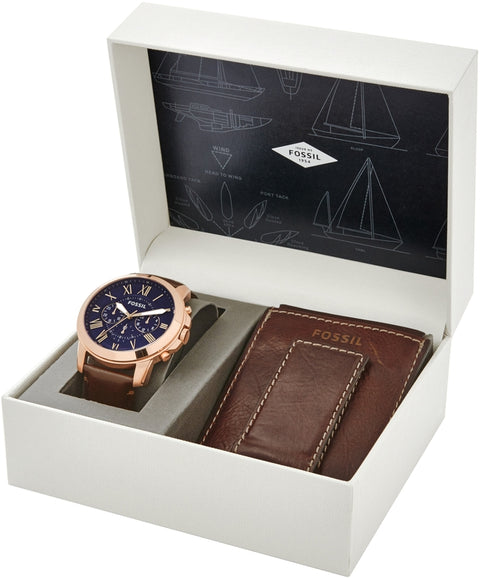 Grant Chronograph Leather Wallet Set