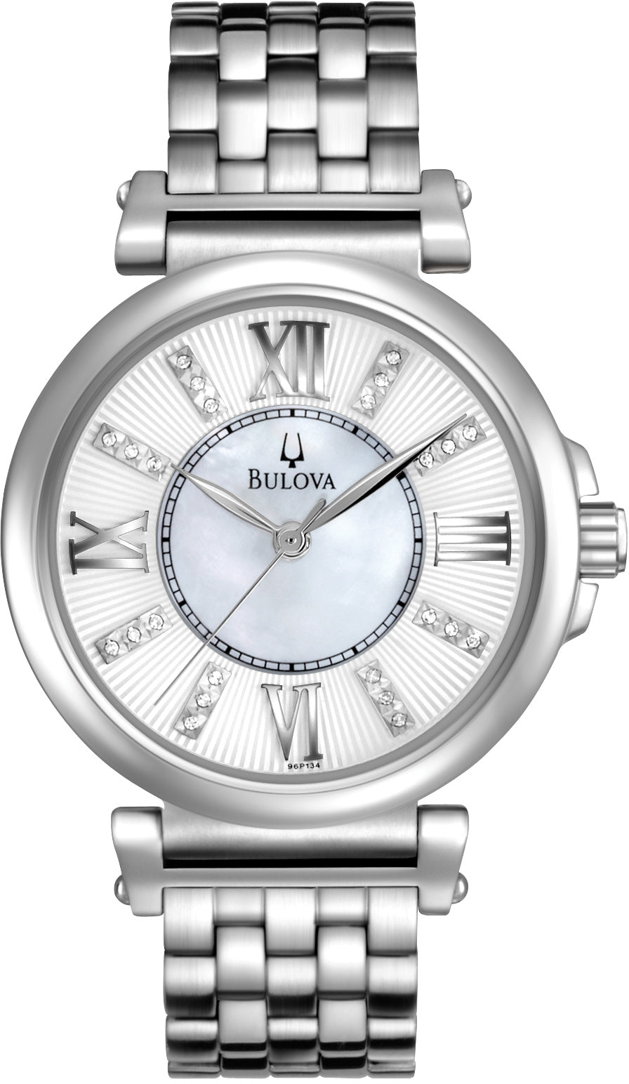 Diamond Accented Silver Dial Stainless Steel Women's Watch 96P134