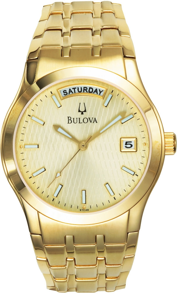 Dress Champagne Dial Analog Gold Plated Stainless Steel Men's Watch 97C48