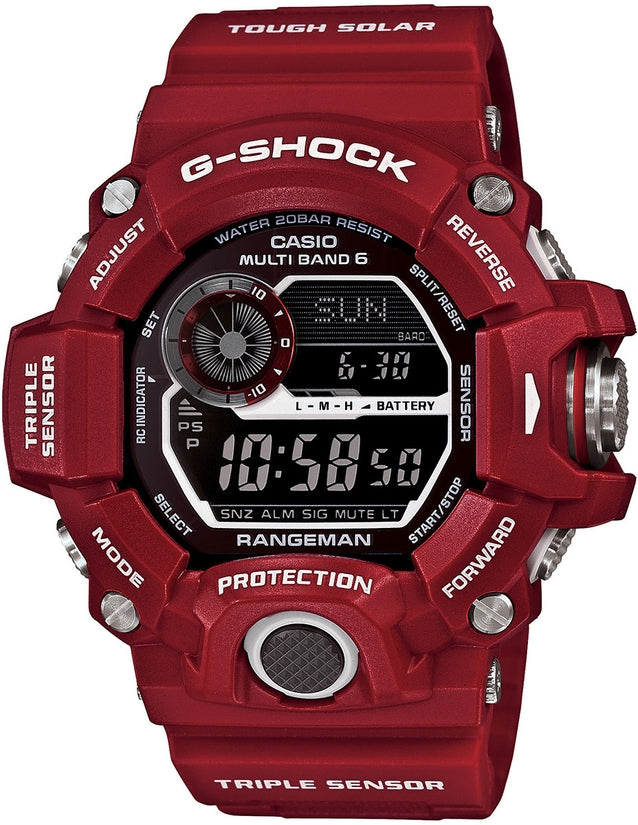 G-Shock GW9400RD-4 Master of G Black Digital Dial Red Resin Strap Mens Watch