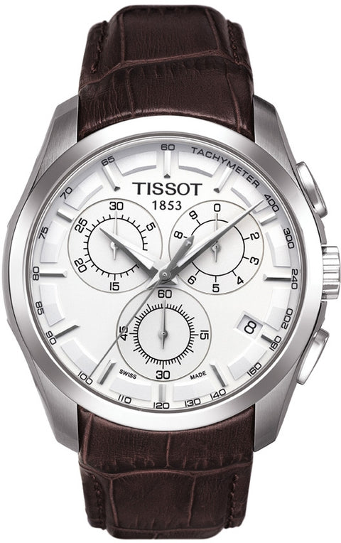 Tissot Couturier Men's Quartz Chronograph Silver Dial Watch with Brown Leather Strap