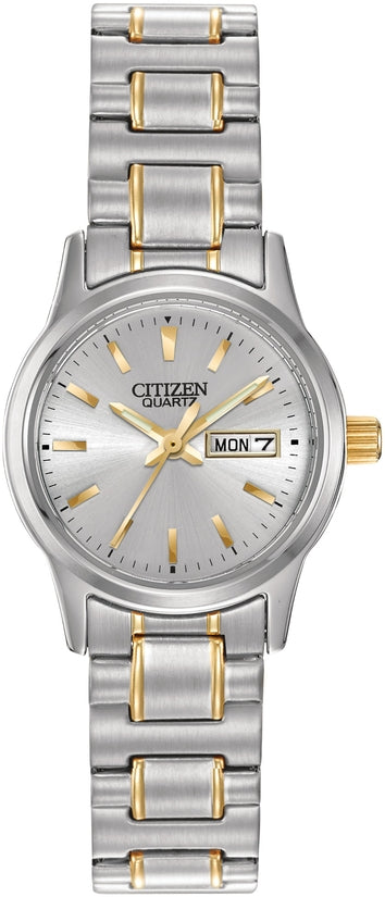 Citizen EQ0584-94A Easy Reader Silver Dial Two Tone Stainless Steel Strap Womens Watch