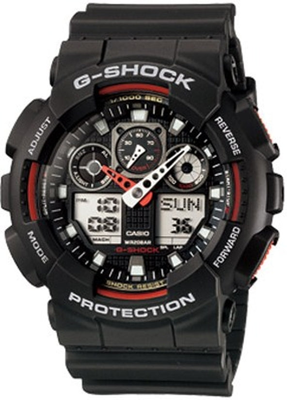 G-Shock X-Large Chronograph Red Accented Black Resin Mens Watch GA100-1A4