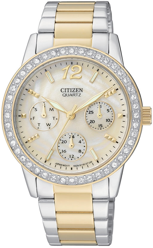 Oversized Multifunction MOP Dial Swarovski Two-Tone Stainless Steel Womens Watch ED8094-52N