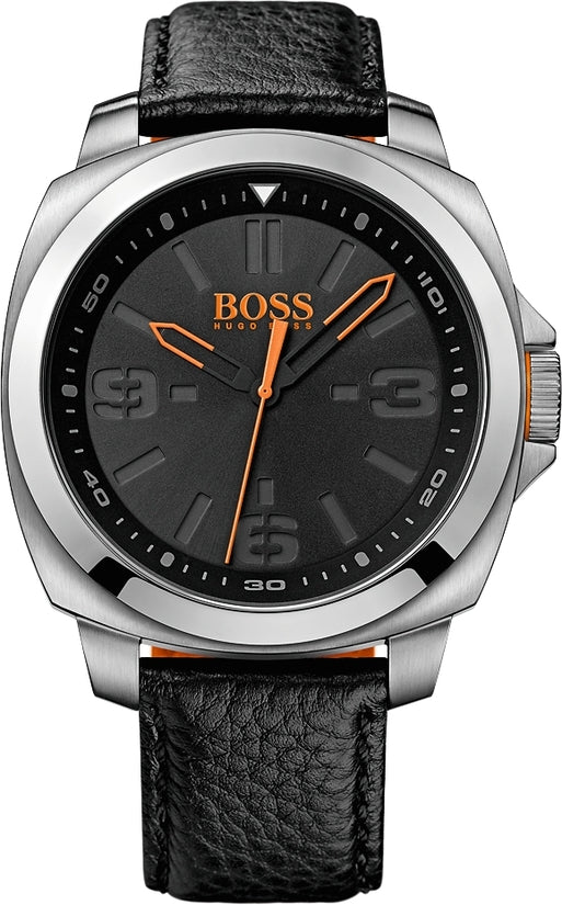Brisbane Men's Black Leather Black Dial