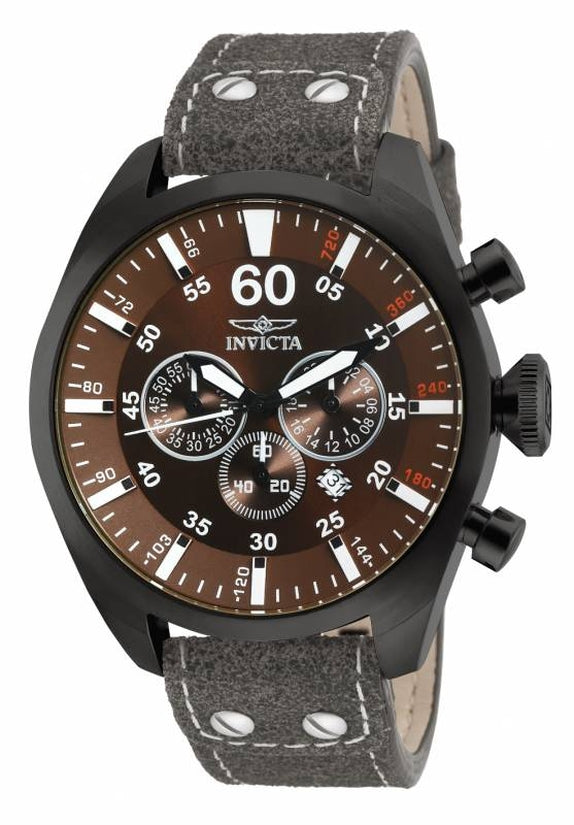 Aviator Men's Leather Gray Dial