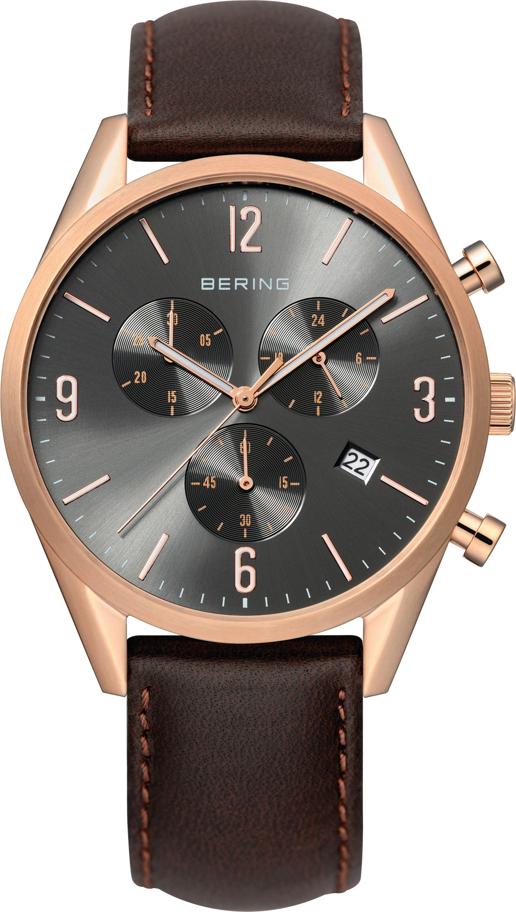 Men's Brown Leather Grey Dial