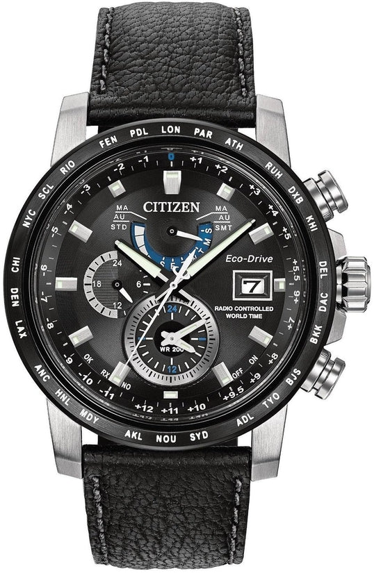 World Time A-T Black Leather