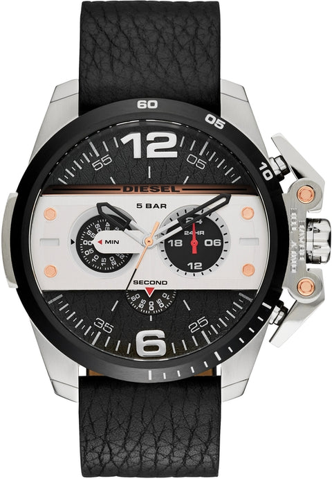 Ironside Chronograph Silver Tone Black Leather