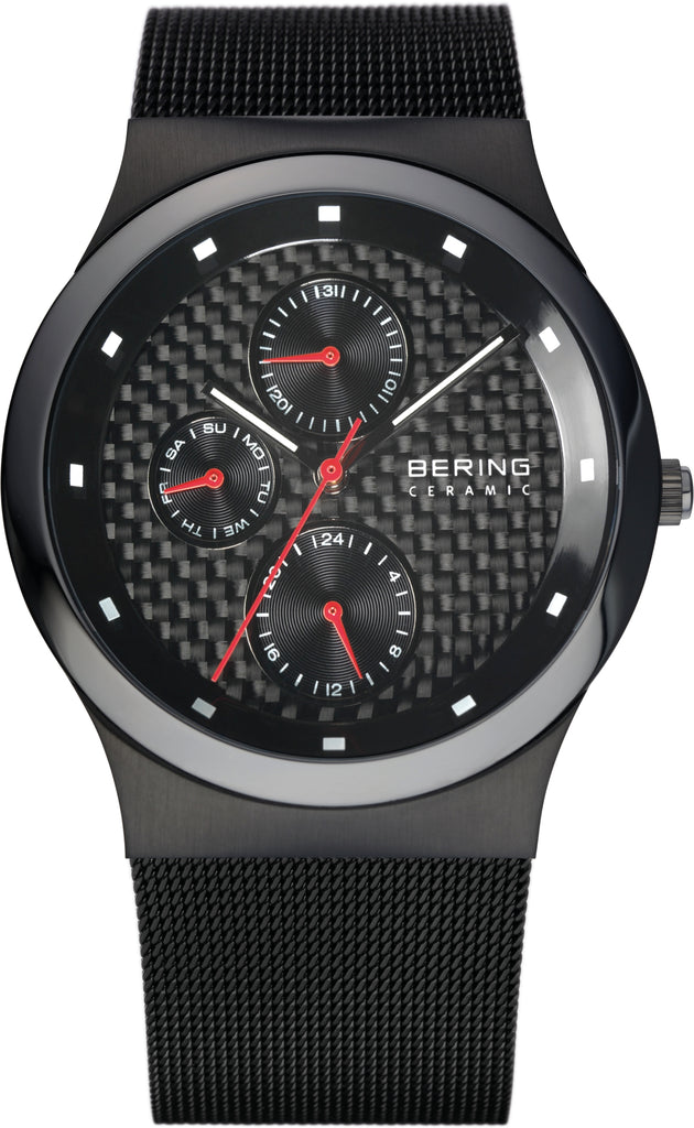 Men's Grey-Tone Stainless Steel Black Dial