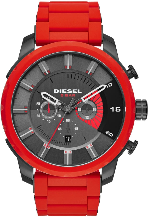 Stronghold Gunmetal Dial Red Silicone & Metal