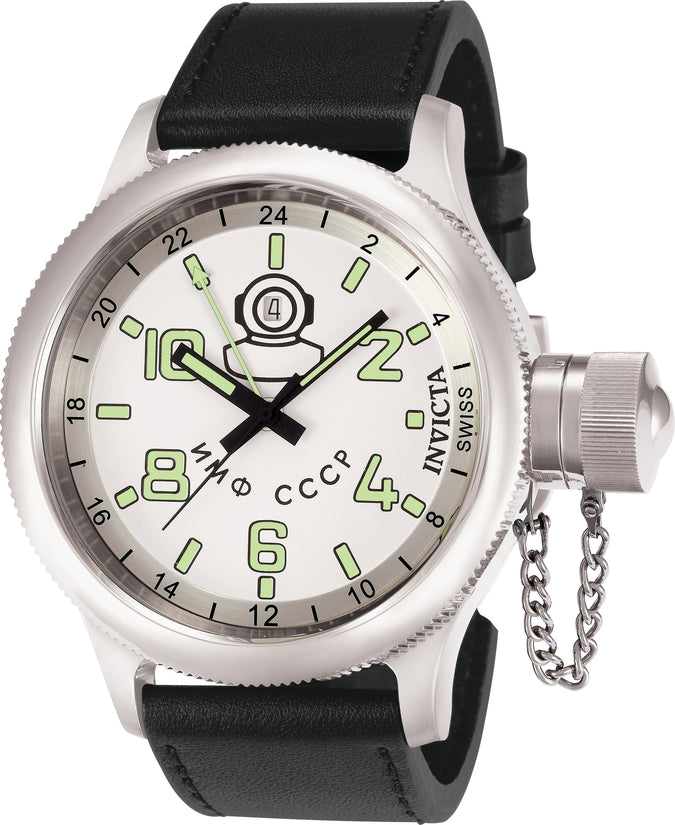 Russian Diver Men's Leather White Dial