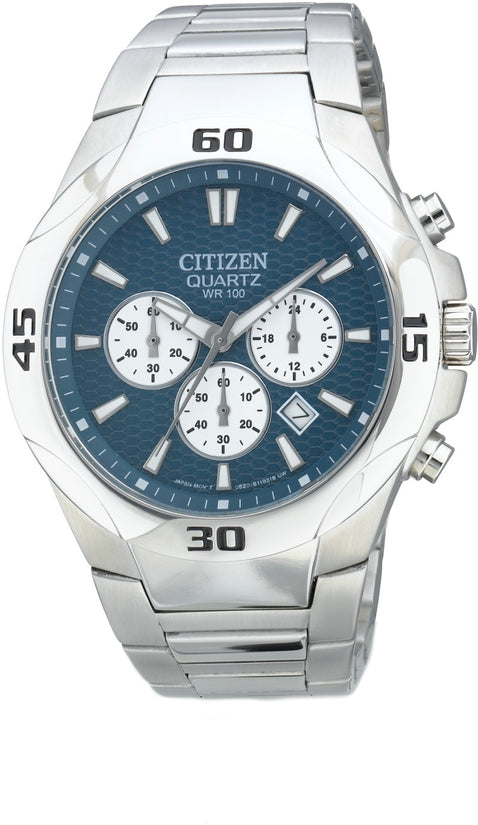 Chronograph Blue Dial Stainless Steel Mens Watch AN8020-51L
