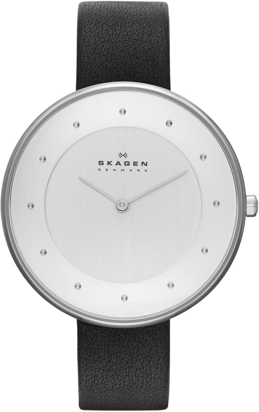 Gitte White Dial Black Leather