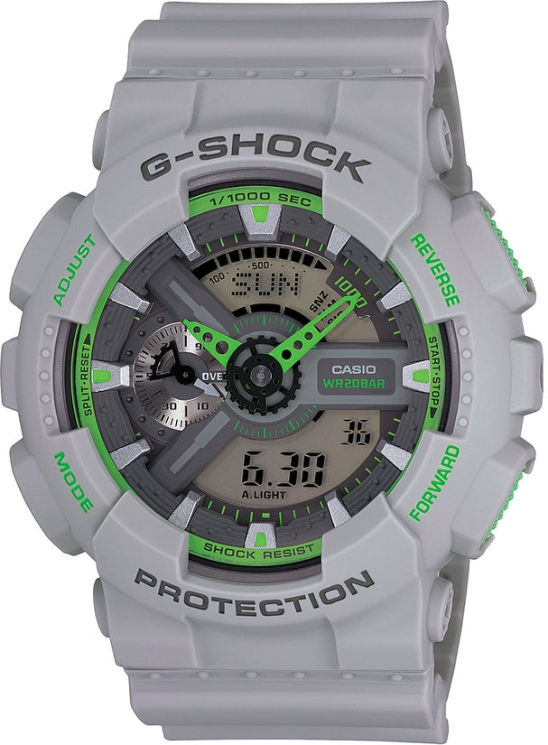 G-Shock GA110TS-8A3 Classic Green Dial Grey Resin Strap Mens Watch