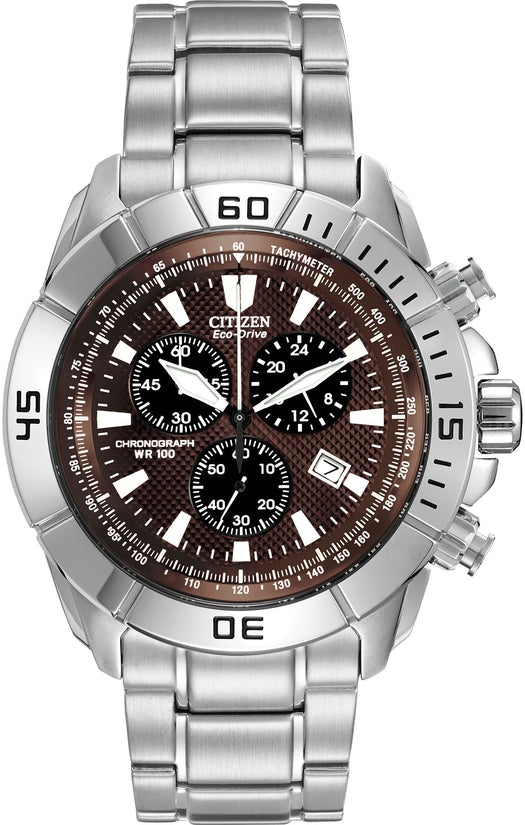 Chronograph Brown Dial Analog Stainless Steel Men's Watch AT0810-55X