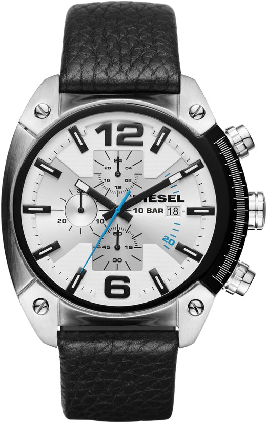 Overflow Chronograph White Dial Black Leather