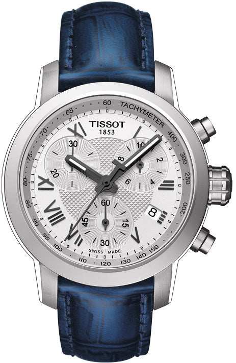 5af681491 Tissot PRC 200 Lady Quartz Chronograph Silver Dial Watch with Blue Leather  Strap
