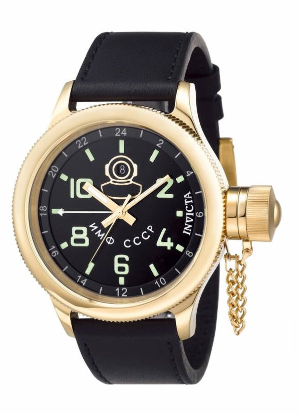 Russian Diver Men's Leather Black Dial