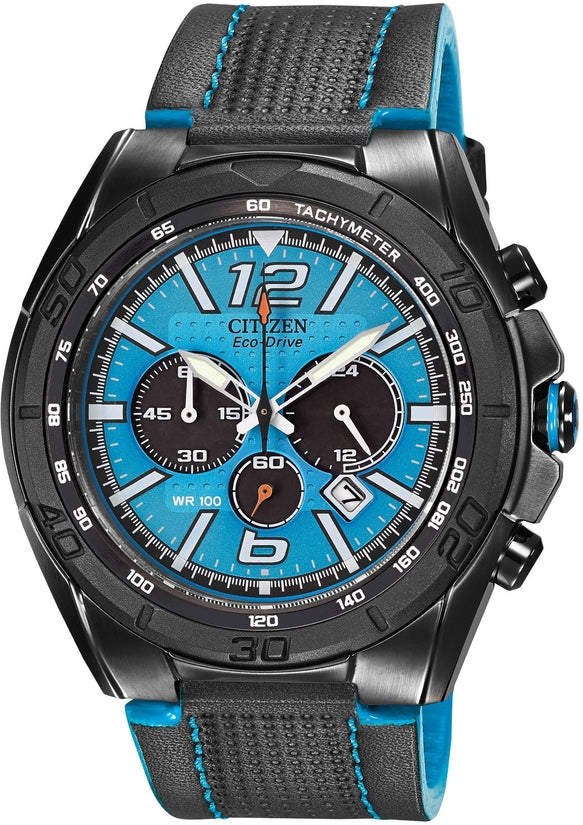 CA4148-00L BRT Chronograph Blue Dial Black Leather Strap Men's Watch
