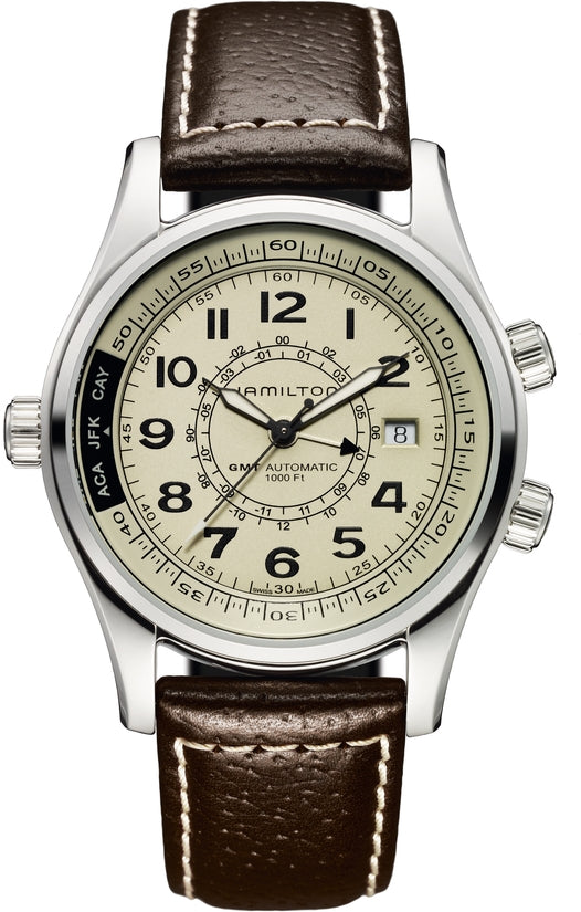 Khaki Men's Brown Leather Strap Ivory Dial