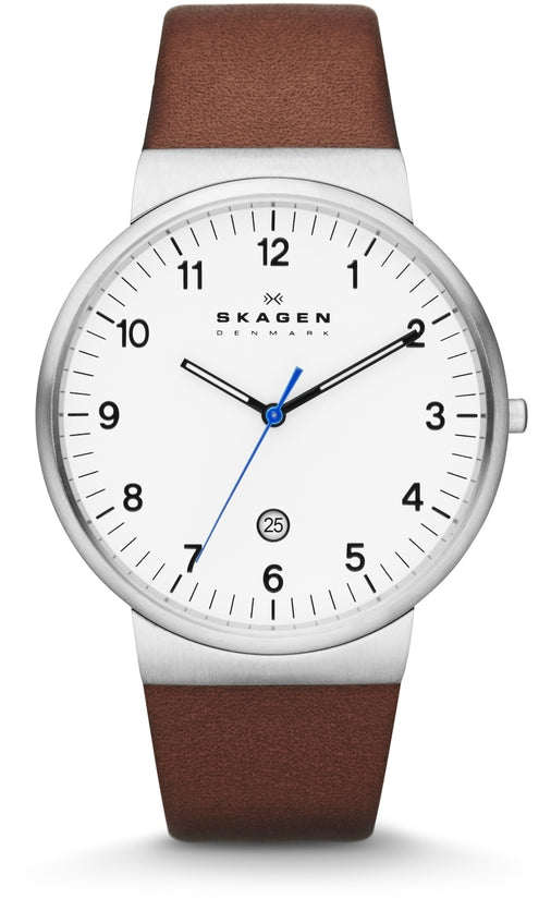 Ancher White Dial Brown Leather