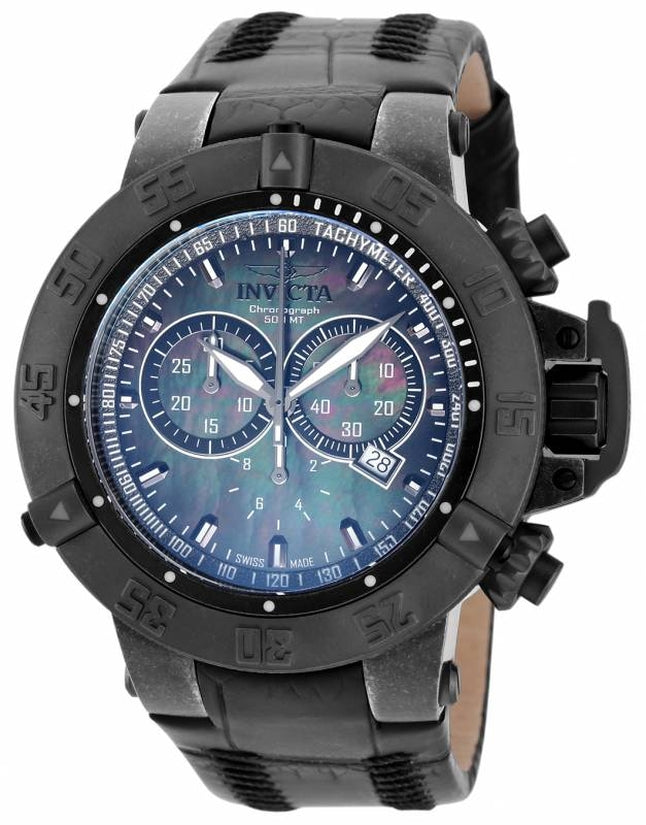 Subaqua Men's Leather Black Dial