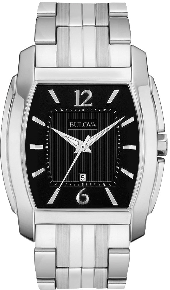 Analog Black Dial Stainless Steel Men's Watch 96B112