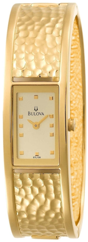 Champagned Dial Gold Plated Stainless Steel Cuff Women's Watch 97L108