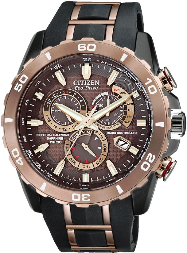 AT4028-03X Limited Edition Perpetual Chronograph Black/Brown Dial Rubber Strap Men's Watch