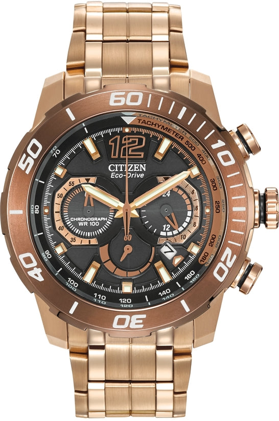 CA4086-56E Primo Stingray 620 Black Dial Rose Gold Stainless Steel Strap Men's Watch