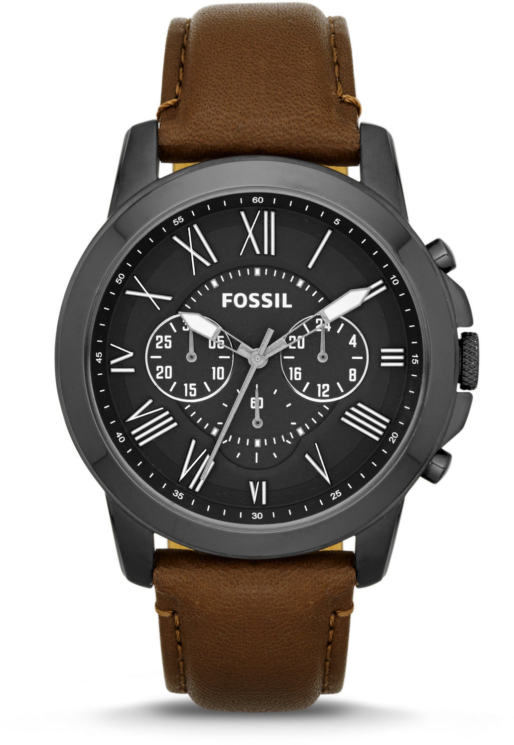 FS4885 Grant Chronograph Black Dial Brown Leather Strap Men's Watch