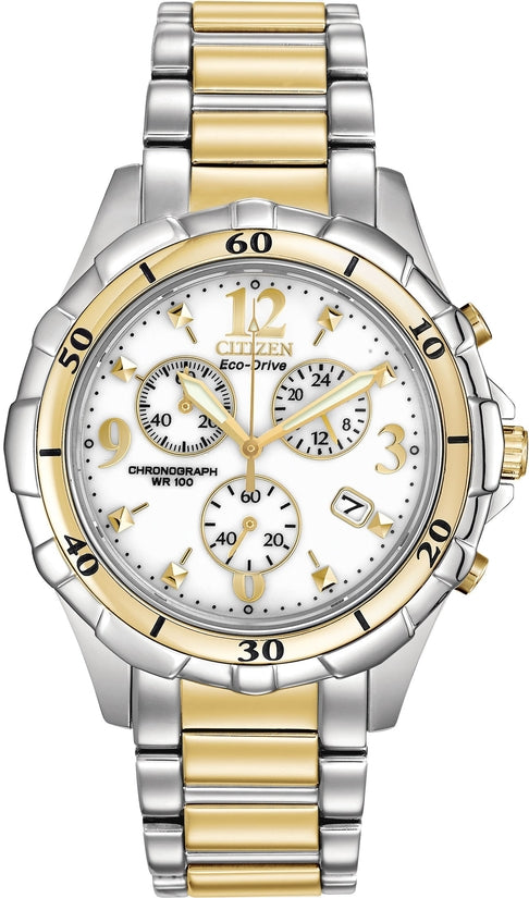 Chronograph White Dial Two Tone Stainless Steel Women's Watch FB1354-57A