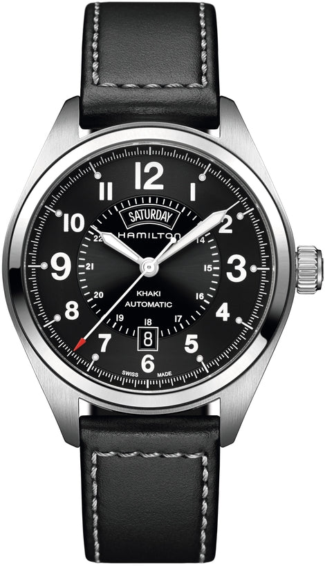 Khaki Men's Black Leather Strap Black Dial